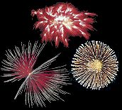 Thousand Red Wheels Fireworks, Purple Bow Tie with Blue Ring Fireworks, Golden Chrysanthemum Fireworks